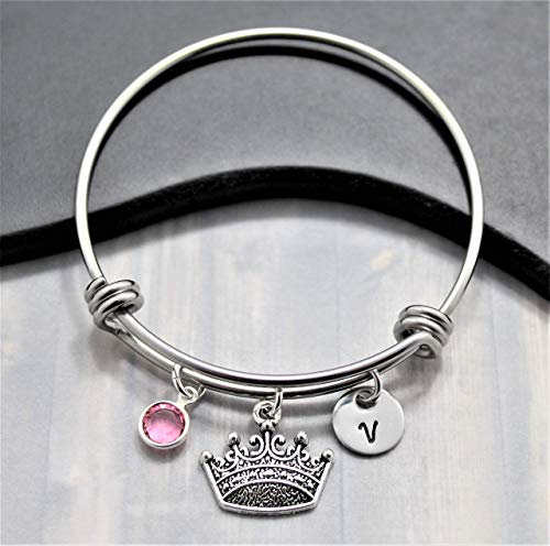 Princess Crown Bracelet for Girls - Personalized Birthstone & Initial - Disney Princess Jewelry - Personalized Princess Gift from Sigmo Creations