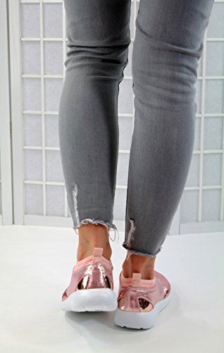 Glisser Paillettes Légère De Gymnastique Larena Rose Marche Femme De Nouveaux De Mode Les Décontractée Entraîneurs De Sur La Chaussures Plates XqqUw7z