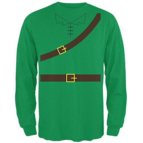 Men In Tights Robin Hood Costume (Halloween Robin Hood Costume Irish Green Adult Long Sleeve T-Shirt - X-Large)
