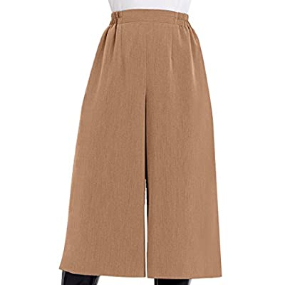 AmeriMark Women's Wide Leg Culottes Gaucho Pants Pull On Flat Front Palazzo Pants: Clothing
