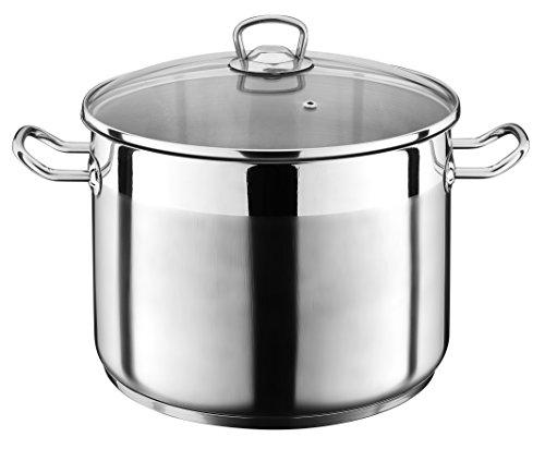 GSW Stahlwaren GmbH Jumbo Cooking Pot, Silver/Clear, 28 x 25 cm, 15 Litre
