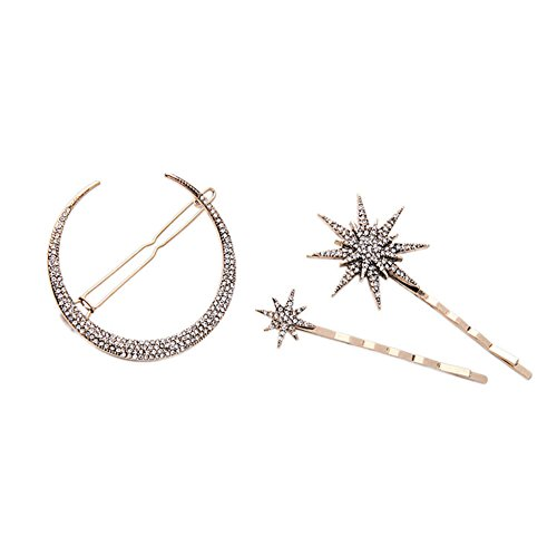 Hair Barrettes Hair Clips Women - CINRA Hair Accessories Hair Pins for Girls Thick Hair Styling Fashion Jewelry Alloy Diamond-studded Moon Star Pendant ()