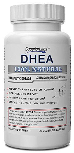 # 1 DHEA Par Labs Superior - 100% naturel, 100mg, 60 capsules végétales - Made in USA, 100% garantie de remboursement