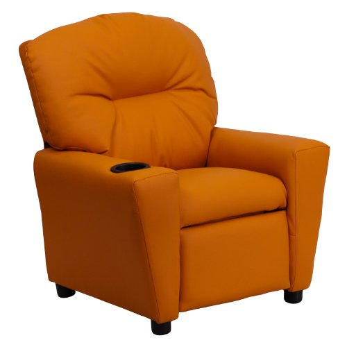 Winston Direct Kids' Series Contemporary Orange Vinyl Recliner with Cup Holder by Winston Direct