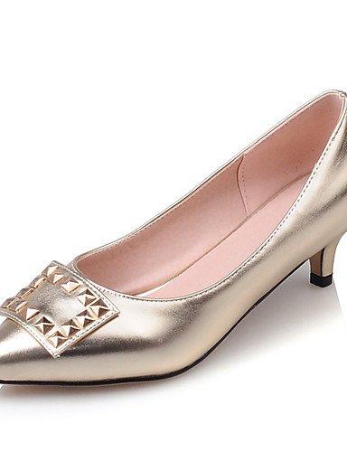 ZQ Zapatos de mujer-Tac¨®n Kitten-Tacones / Pump B¨¢sico / Puntiagudos-Tacones-Oficina y Trabajo / Vestido / Fiesta y Noche-Semicuero-Plata / , gray-us9 / eu40 / uk7 / cn41 , gray-us9 / eu40 / uk7 / c golden-us5 / eu35 / uk3 / cn34