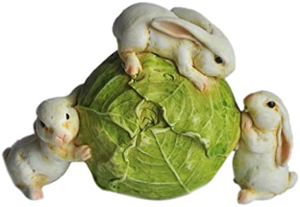 Bunnies Cabbage Fairy Garden Rabbit Rolling Lettuce Terrarium Decor Doll House