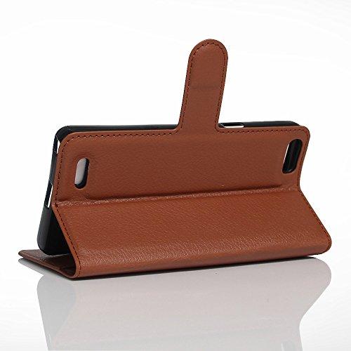 OFU® Para Cubot X16S Funda,Dual Layer PC And TPU Hybrid Card Carry Pocket Wallet Slot,Cartera Cuero Funda de Piel Wallet Case para Cubot X16S Carcasa Flip Case Cover con Función Soporte(marrón)