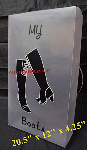 LARGE Clear Plastic Shoe Box HIGH Boots Shoebox Storage case container W/ HANDLE