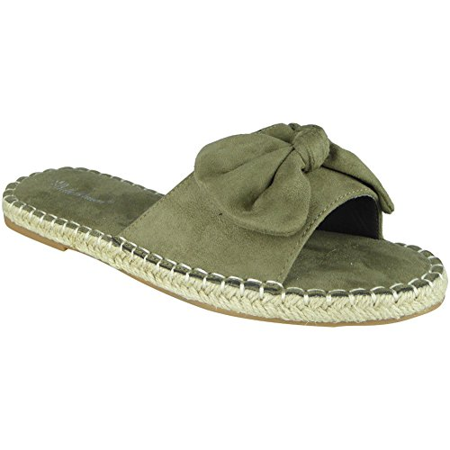 New Womens Ladies Comfy Sliders Flats Shoes Slides Espadrilles Bow Slippers Size 3-8 Green