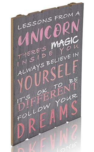 Something Unicorn - Rustic Wall Hanging Sign for Teen Girls, Girl