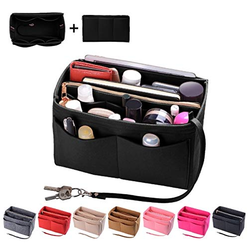 Purse Organizer Insert, Felt Bag organizer with zipper, Handbag & Tote Shaper, Fit LV Speedy, Neverfull, Longchamp, Tote (Slender Large, Black)