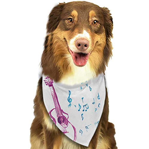 - Colored pet Scarf Guitar Watercolor Musical Instrument with Notes Sheet Elements Brush Stroke Effect W27.5 xL12 Scarf for Small and Medium Dogs and Cats