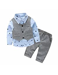 LUNIWEI Boys 3PCS/Set Outfits Shirt + Trousers + Waistcoat