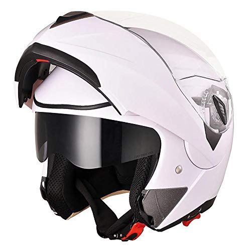 AHR Full Face Flip up Modular Motorcycle Helmet DOT Approved Dual Visor Motocross White M