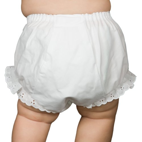 Collection Eyelet (I.C. Collections Baby Girls White Double Seat Diaper Cover Bloomers, Size M)