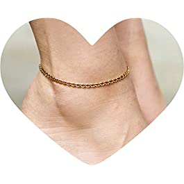 Lifetime Jewelry 3mm Mariner Link Chain Anklet for Women & Men 24k Gold Plated