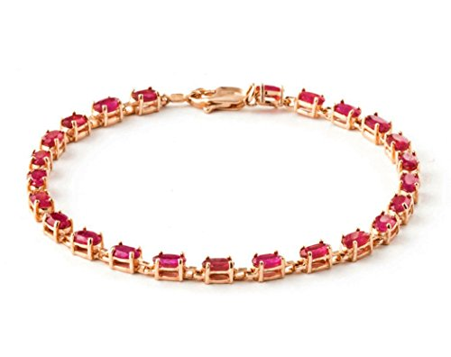 14k Solid Rose Gold Tennis Bracelet with 8 Carat (CTW) Natural Red Ruby -3556R (7) 14k Yellow Gold Ruby Bracelet