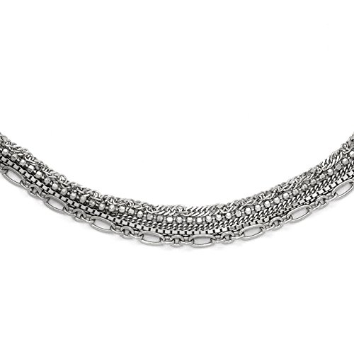 (925 Sterling Silver Polished Five Strand 16in Necklace)
