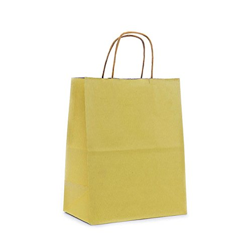 Yellow Paper Gift Bags | Quantity: 250 | Width: 8'' Gusset - 4 3/4 by Paper Mart (Image #1)