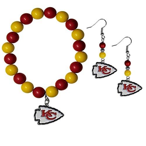 NFL Kansas City Chiefs Fan Bead Earrings & Bracelet Set