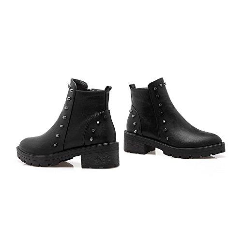 AmoonyFashion Womens Solid Kitten Heels Closed Round Toe PU Zipper Boots Black JdPn5XeaH