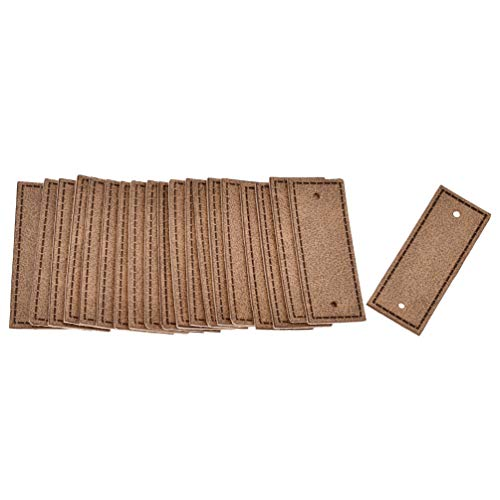 BetterUS 20pcs PU Leather Garment Labels Blank 2 Holes Apparel Accessories DIY Crafts (Brown)