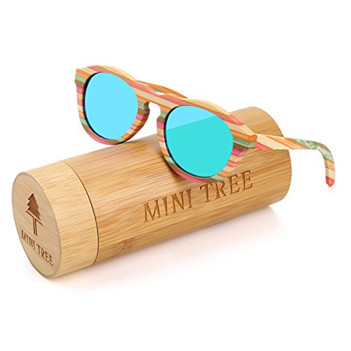 Mini Tree Polarized Bamboo Sunglasses Wayfarer Glasses With Colorful lines (Green, - Sunglasses Line Of The Top