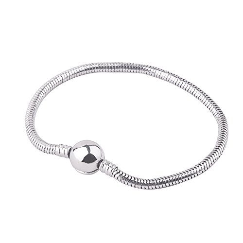 PandaHall Elite Charm Bracelet For Women and Girls Bead Charms Stainless Steel European Snake Chain Bracelets with Round Barrel Snap Clasp in 7.8 Inch
