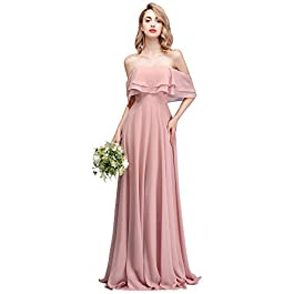 CLOTHKNOW Chiffon Bridesmaid Dresses Long Strapless Shoulder Ruffles for Women Girls to Wedding Party Gowns