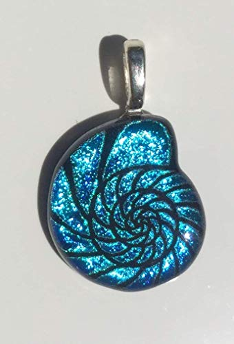 Aqua Blue Nautilus Shell Laser Engraved Etched Dichroic Fused Glass ()