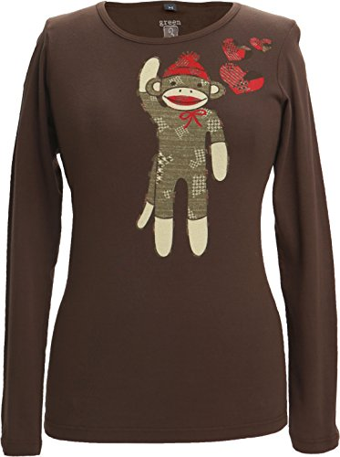 (Green 3 Valentines Day Love Heart Sock Monkey Organic Cotton Tee Made in The USA Chocolate Brown)