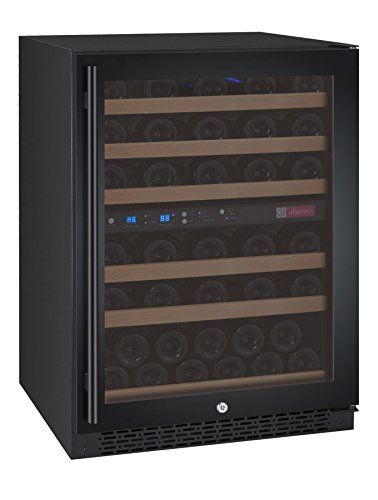 (Allavino FlexCount VSWR56-2BWRN Black 56 Bottle Dual Zone Wine Refrigerator Right Hinge Built-In)