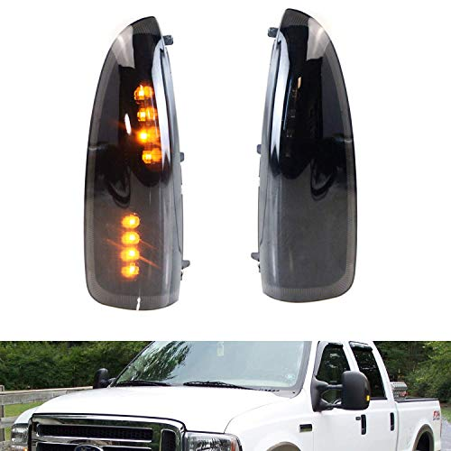 iJDMTOY (2) Smoked Lens LED Side Mirror Marker Lights Set For 2003-2007 Ford F-250 F-350 Superduty, 2000-2005 Ford ()