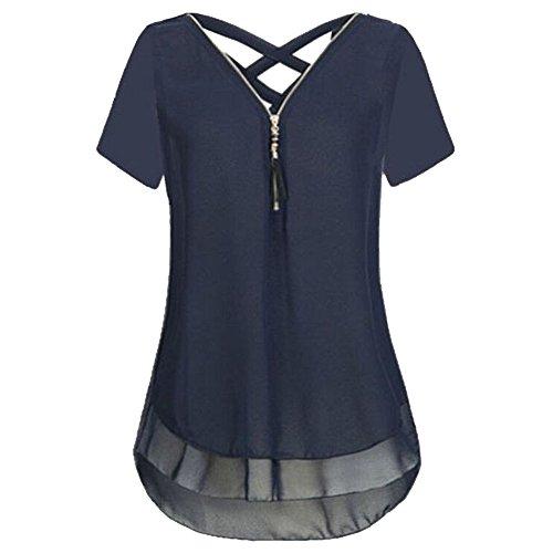 Soie Casual Back V Bleu Femme Shirt Vertvie T Mousseline Top t Col Cross clair Chemisier Fermeture en Manches Blouse de Courtes q0P0WHx