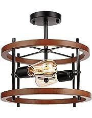 Vintage drewniana lampa sufitowa – przemysłowy żyrandol retro, 2-żarówkowy, okrągła lampa sufitowa, czarna, metal, oprawka E27, do kuchni, salonu, restauracji, jadalni
