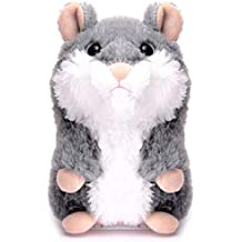 XYH Upgrade Talking Hamster Repeats What You Say Electronic Pet Talking Plush Toy, Ideal Gift for Kids (Gray)