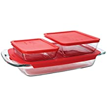 Pyrex Easy Grab 6-Piece Value-Pack Includes 1-Each 3 Quart Oblong, 3cup Rectangle Storage, 6 Cup Rectangle Storage, with Redplastic Covers
