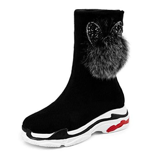 JOYBI Women Fashion Round Toe Mid Calf Boots Comfortable Zipper Non Slip Lady Winter Platform Sneaker Boot Black