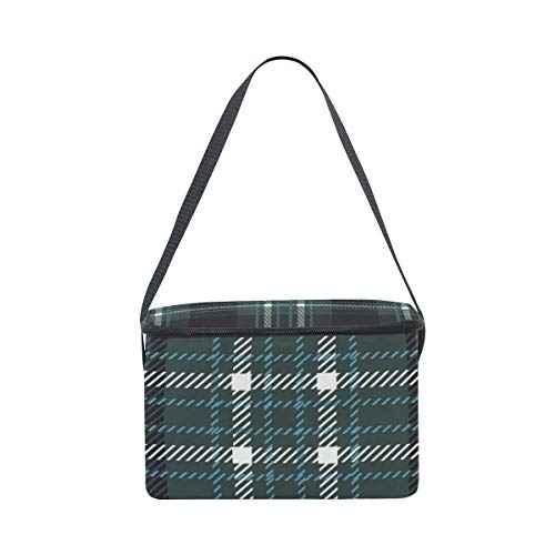 Shoulder Bag Plaid Tartan Checkered Green Picnic Cooler Lattice Strap Scottish for Lunchbox Lunch OqZxnvx