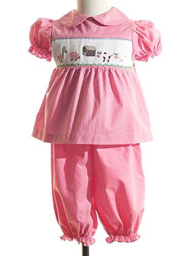 Mom & Me Barnyard Smocked Bloomer Pant Set Pink (Smocked Bloomer Set)