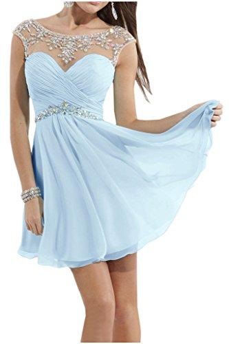 Blau A Chiffon Abendkleider mia Damenmode Hundkragen Partykleider La Sommer Himmel Mini Braut Attraktive Steine Cocktailkleider Linie Wq1wndRZvd