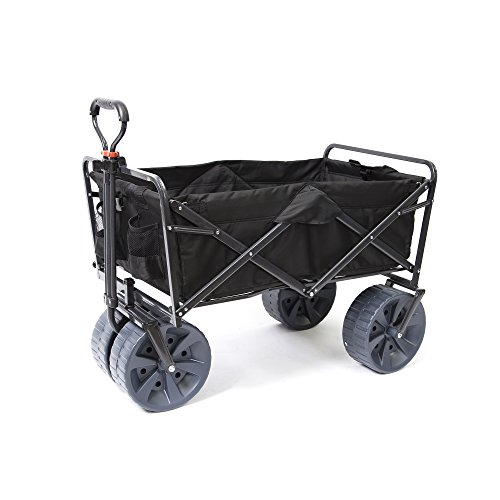 Mac Sports Heavy Duty Collapsible Folding All Terrain Utility Wagon Beach Cart (Black) by Mac Sports