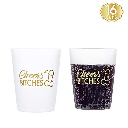MISS FANTASY Bachelorette Party Cups Set of 16pcs Frosted Cup Stadium Cups for Hen party (Frosted white)