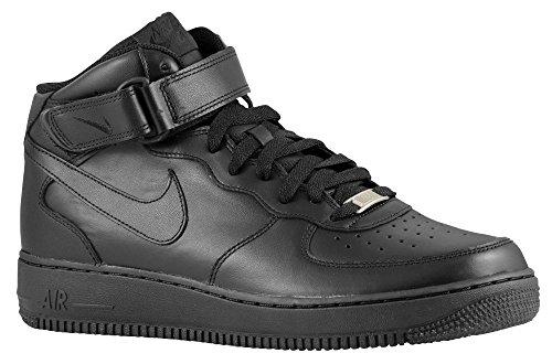 Nike Air Force 1 Mid (GS) Zapatillas de Baloncesto, Niños Negro