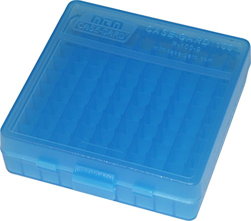 MTM Case-Gard P-100 Series Small Handgun Ammo Box, 100 Round, Clear Blue