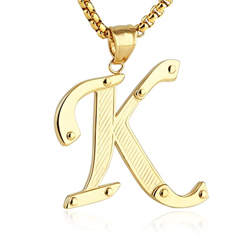 HZMAN Mens Stainless Steel Alphabet Initial Letters Pendant Necklace 2 Colors Gold Silve From A-Z (K - Gold)
