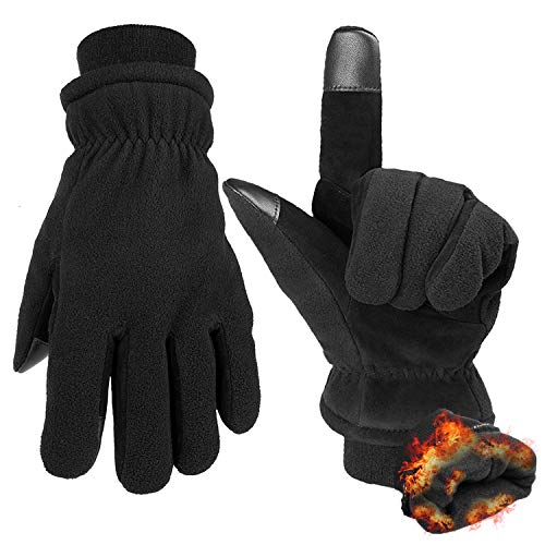 Winter Glove Touch Screen Snow Ski Work Thermal Glove for Men and Women Black XL
