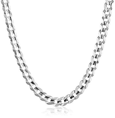 "Galleon - Men's 14k White Gold 8.3mm Cuban Chain Necklace, 20"""
