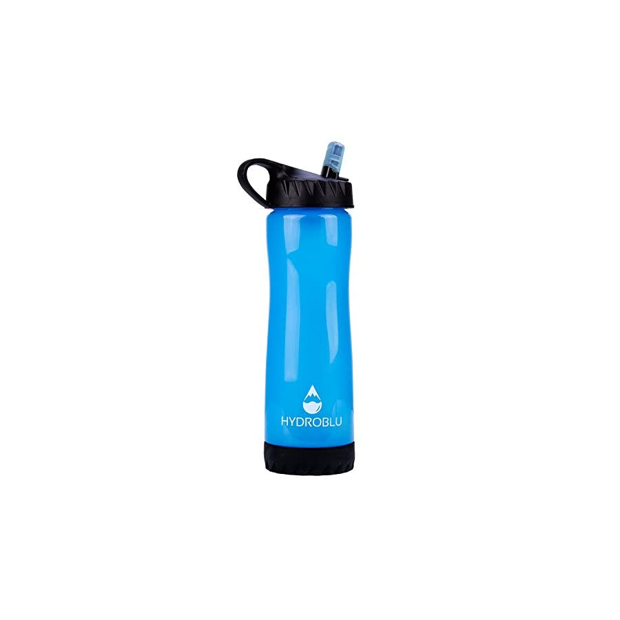 HydroBlu Clear Flow Water Filter 1,500 L Activated Carbon and Hollow Fiber Membrane Water Filter Bottle for Camping and Hiking Survivor or Emergency Use
