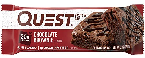 Quest Nutrition Chocolate Brownie Protein Bar, High Protein, Low Carb, Gluten Free, Soy Free, Keto Friendly, 12 Count ()